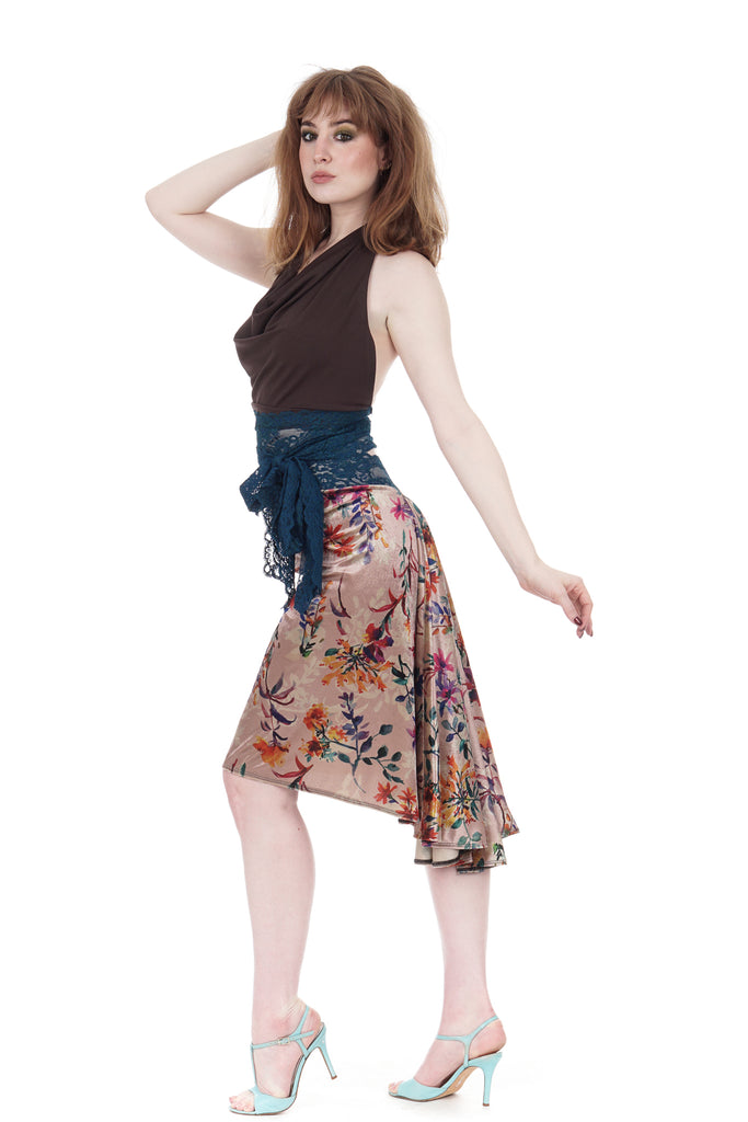the signature skirt in painted field velvet - Poema Tango Clothes: handmade luxury clothing for Argentine tango