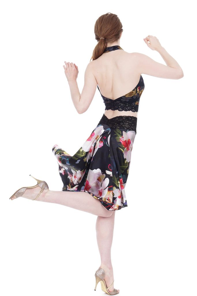 the signature skirt in photorealistic orchids - Poema Tango Clothes: handmade luxury clothing for Argentine tango