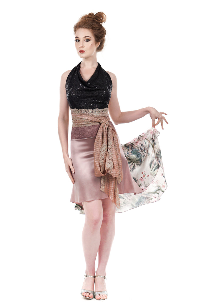 the signature skirt in pink rushes & dusky ballet silk - Poema Tango Clothes: handmade luxury clothing for Argentine tango