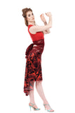 the signature skirt in red blown roses - Poema Tango Clothes: handmade luxury clothing for Argentine tango