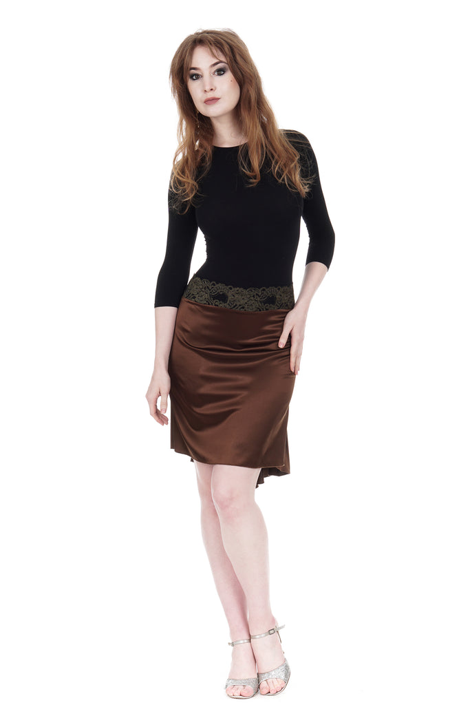 the signature skirt in sable silk - Poema Tango Clothes: handmade luxury clothing for Argentine tango