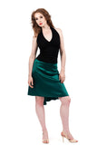the signature skirt in scarab green silk