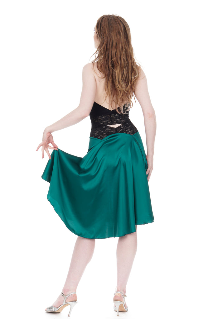 the signature skirt in scarab silk - Poema Tango Clothes: handmade luxury clothing for Argentine tango
