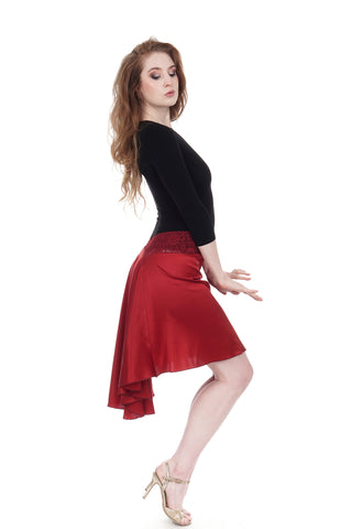 the signature skirt in scarlet silk