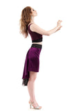 the signature skirt in silk berry and burnout velvet - Poema Tango Clothes: handmade luxury clothing for Argentine tango