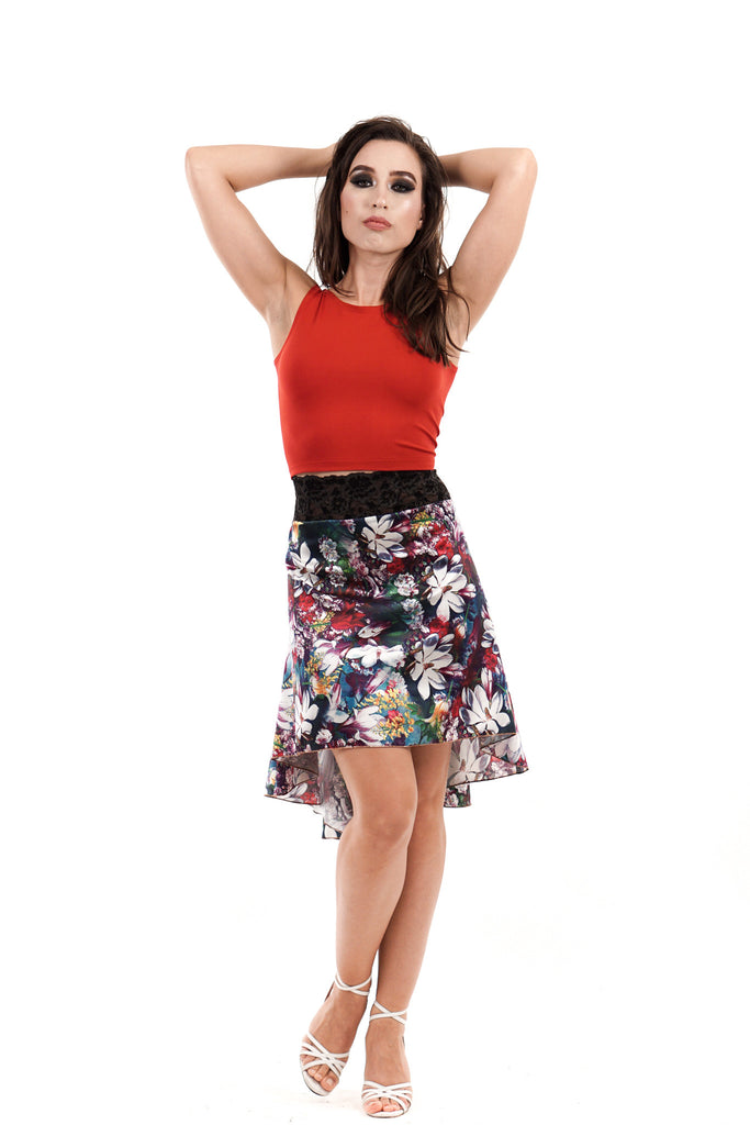 the signature skirt in silk flower riot - Poema Tango Clothes: handmade luxury clothing for Argentine tango