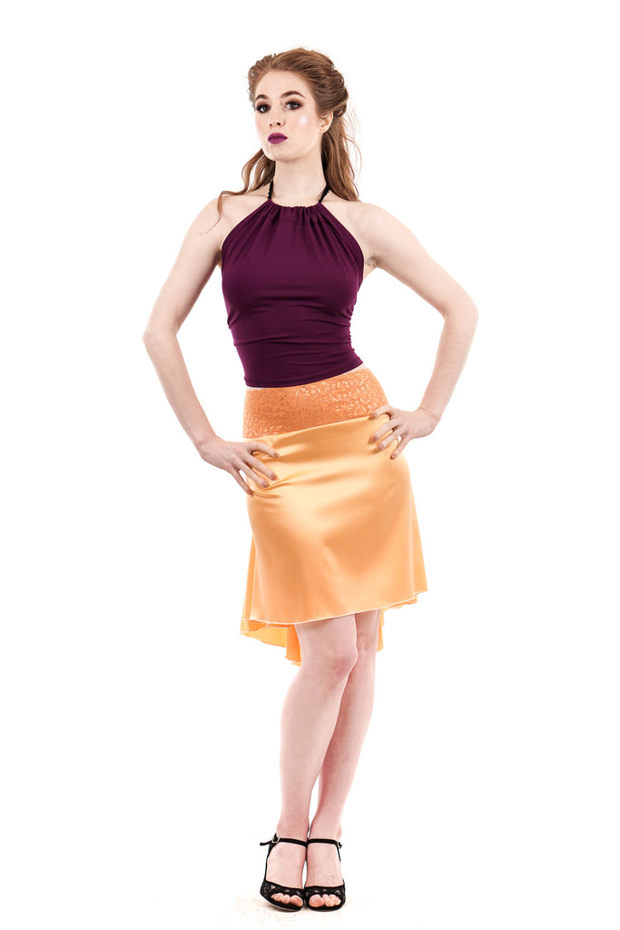the signature skirt in silk peach - Poema Tango Clothes: handmade luxury clothing for Argentine tango