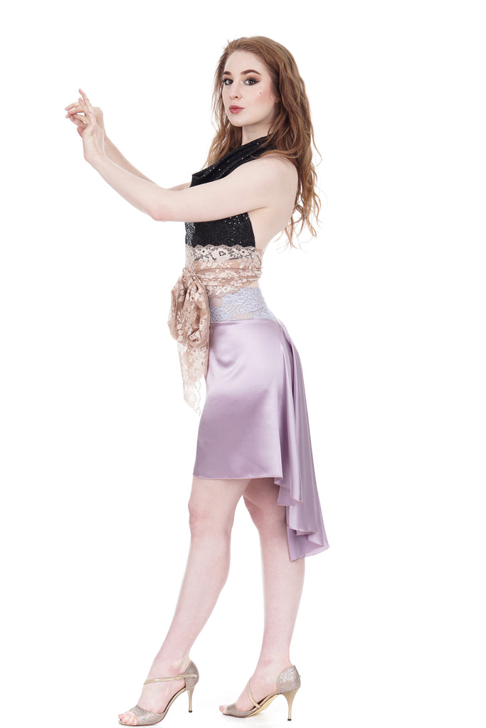 the signature skirt in silver amethyst - Poema Tango Clothes: handmade luxury clothing for Argentine tango