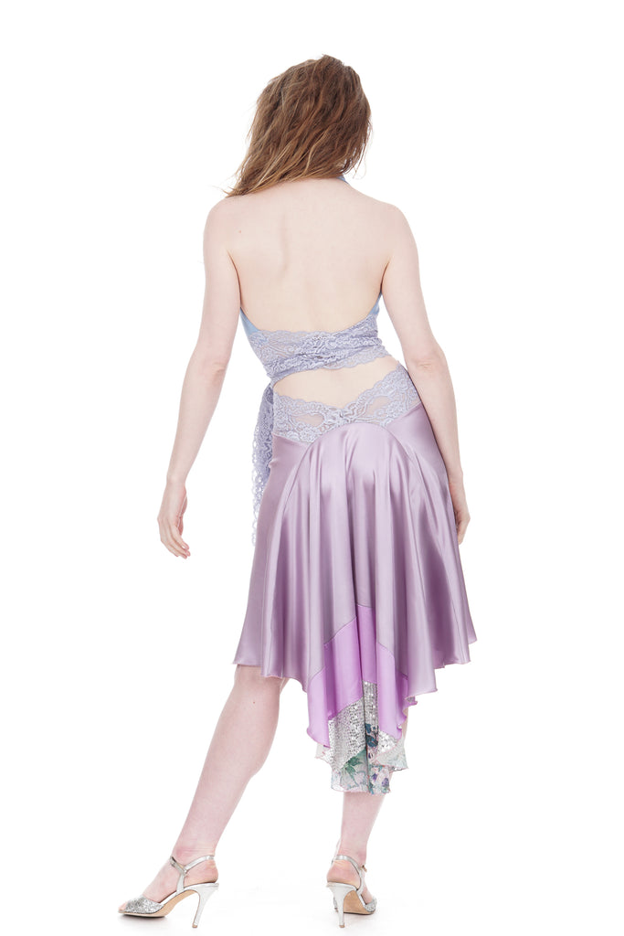 the signature skirt in silver amethyst and fairyland sequins - Poema Tango Clothes: handmade luxury clothing for Argentine tango