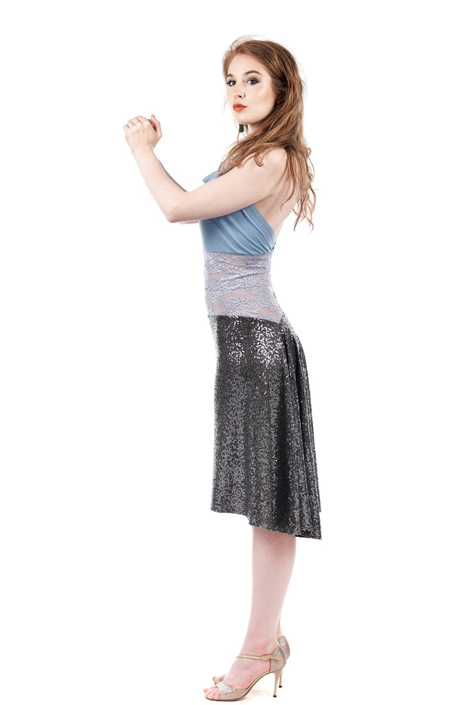 the signature skirt in silver seal sequins - Poema Tango Clothes: handmade luxury clothing for Argentine tango