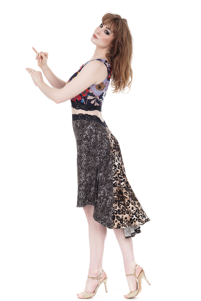 the signature skirt in smoky python & big cat - Poema Tango Clothes: handmade luxury clothing for Argentine tango