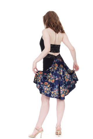 the signature skirt in soft ink & bloom-traced velvet