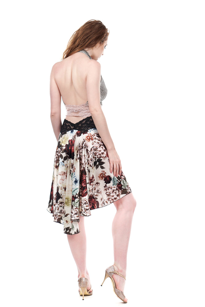 the signature skirt in spilled bouquet - Poema Tango Clothes: handmade luxury clothing for Argentine tango