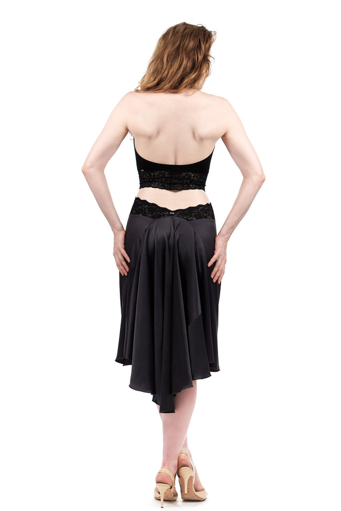 the signature skirt in suede gray silk  - Poema Tango Clothes: handmade luxury clothing for Argentine tango
