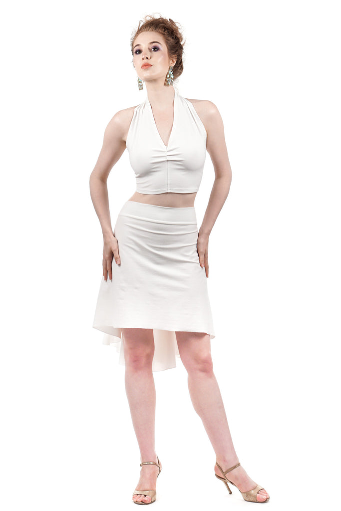 the signature skirt in swan sport jersey - Poema Tango Clothes: handmade luxury clothing for Argentine tango