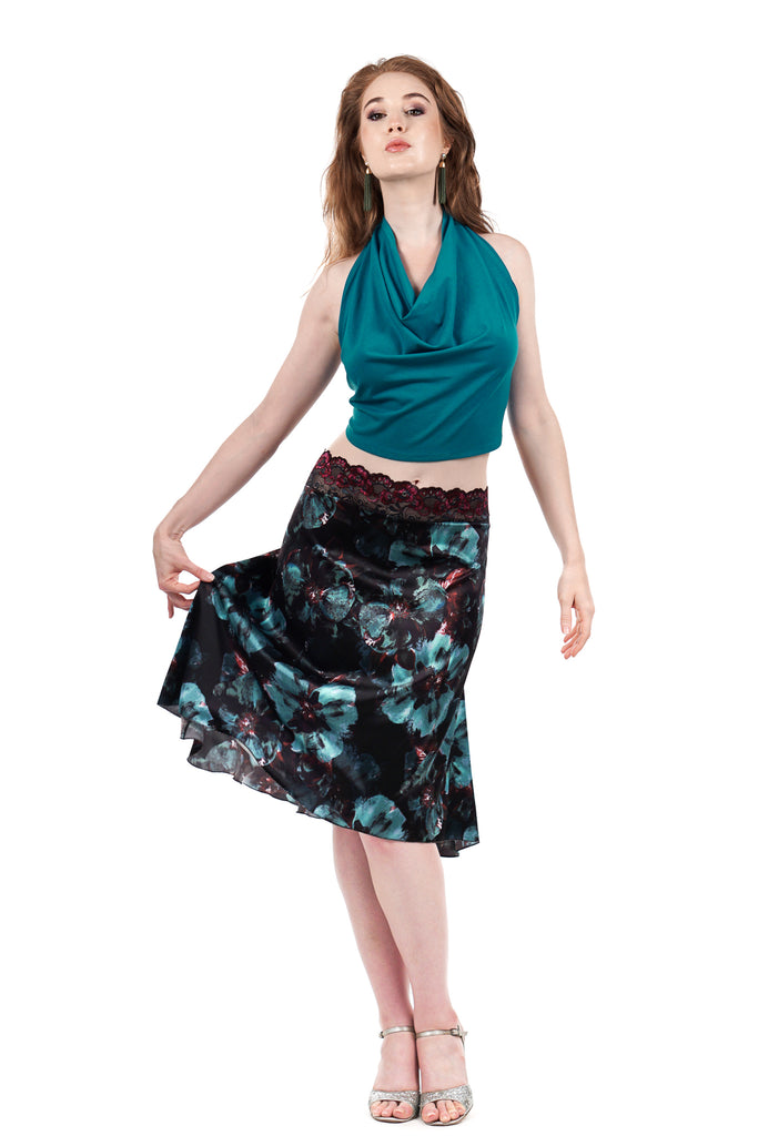 the signature skirt in sweetrose and mazarine blooms - Poema Tango Clothes: handmade luxury clothing for Argentine tango