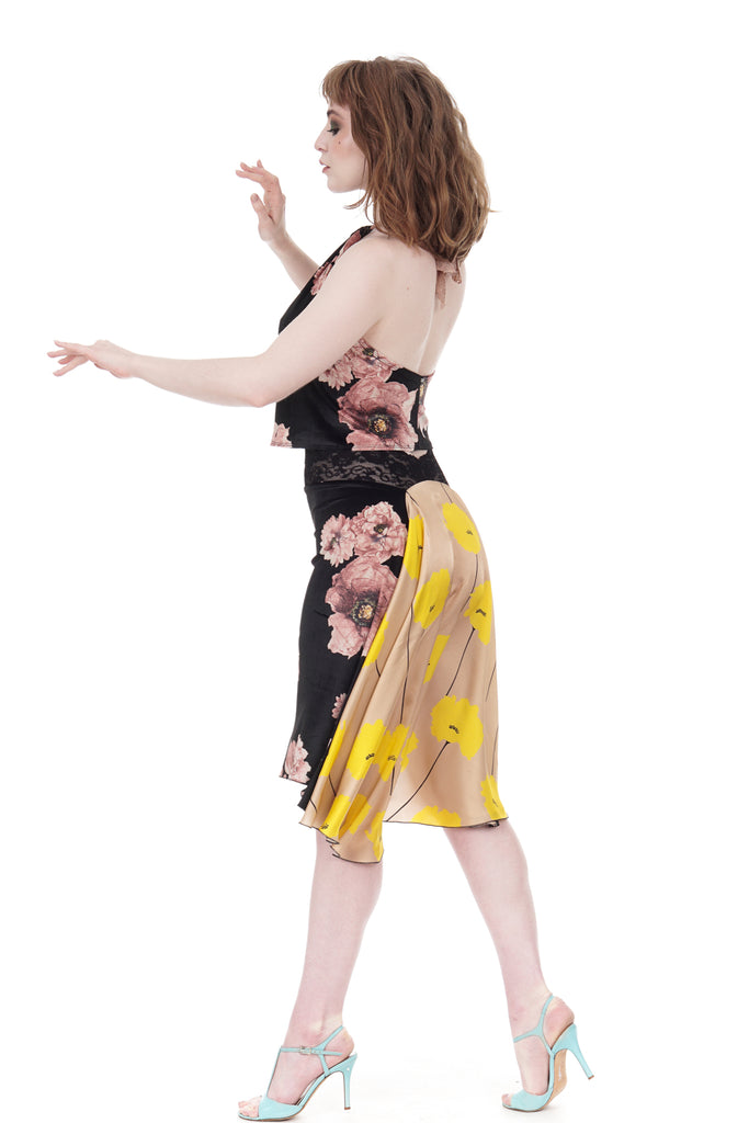the signature skirt in tatter blooms and buttercup stems - Poema Tango Clothes: handmade luxury clothing for Argentine tango