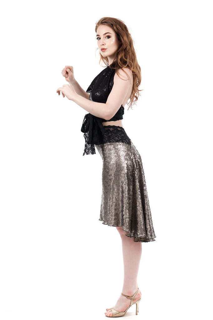 the signature skirt in titania sequins - Poema Tango Clothes: handmade luxury clothing for Argentine tango