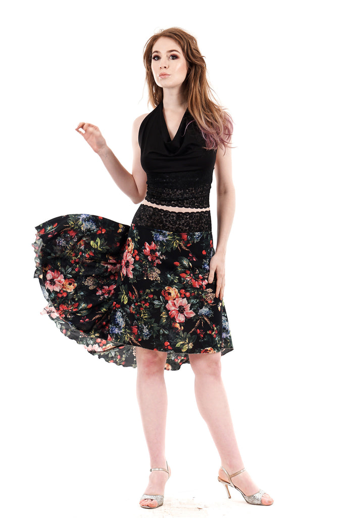 the signature skirt in tossed blooms - Poema Tango Clothes: handmade luxury clothing for Argentine tango