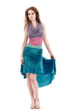 the signature skirt in turquoise velvet - Poema Tango Clothes: handmade luxury clothing for Argentine tango