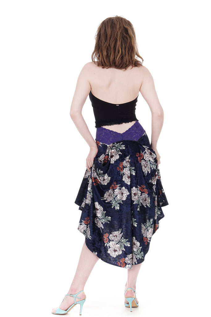 the signature skirt in vintage midnight velvet - Poema Tango Clothes: handmade luxury clothing for Argentine tango