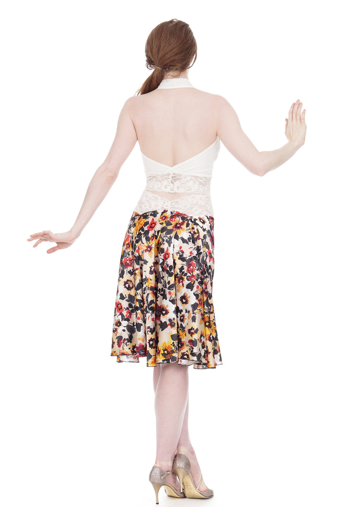 the signature skirt in watercolor field - Poema Tango Clothes: handmade luxury clothing for Argentine tango
