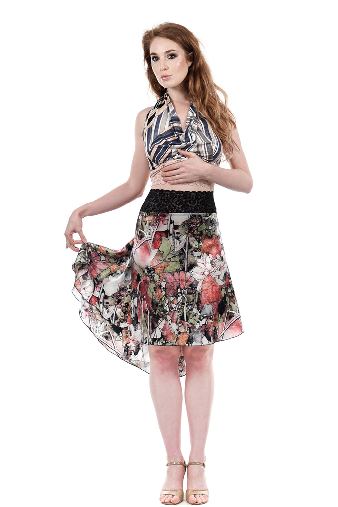 the signature skirt in watercolor passionflower - Poema Tango Clothes: handmade luxury clothing for Argentine tango