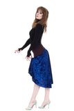 the signature skirt in wine & cobalt crushed velvet - Poema Tango Clothes: handmade luxury clothing for Argentine tango