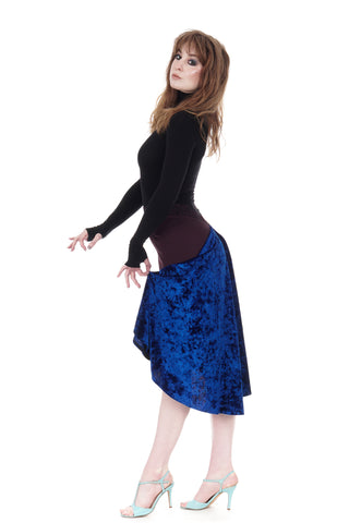 the signature skirt in wine & cobalt crushed velvet