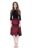 the signature skirt in wine & watercolor velvet - Poema Tango Clothes: handmade luxury clothing for Argentine tango