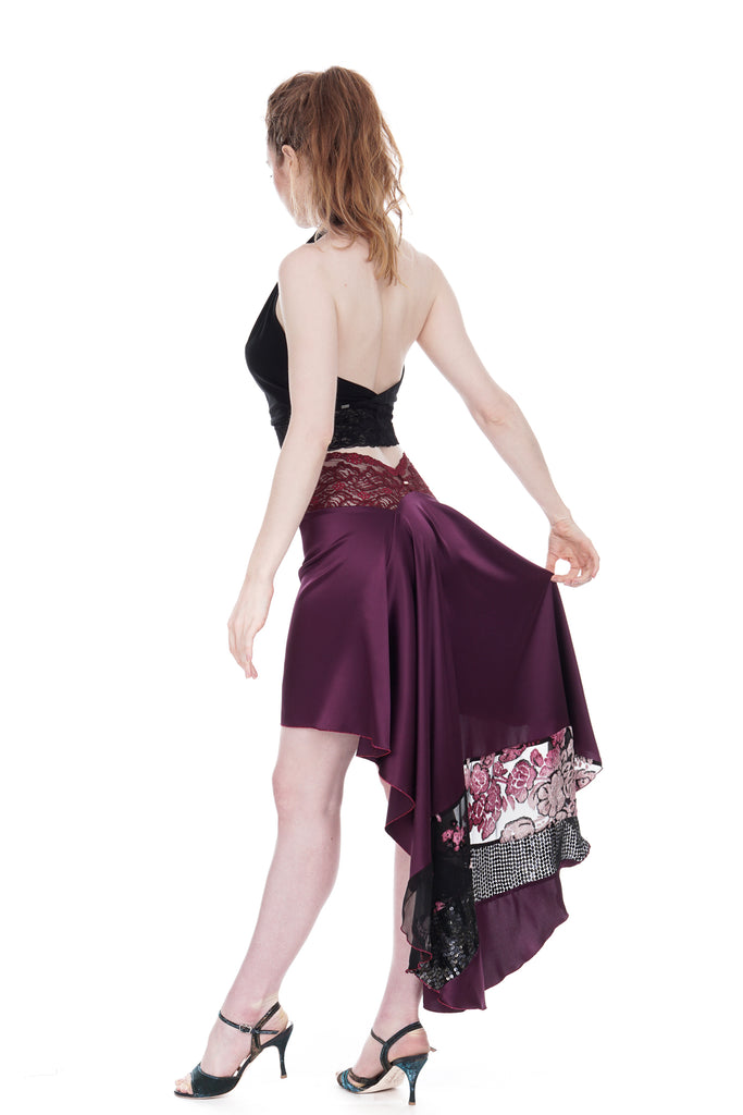 the signature skirt in wine silk and chiffon