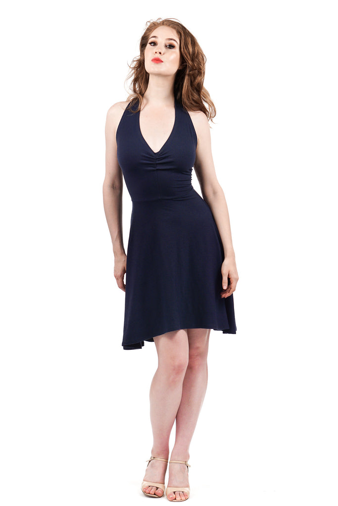 true navy ribbed dress - Poema Tango Clothes: handmade luxury clothing for Argentine tango