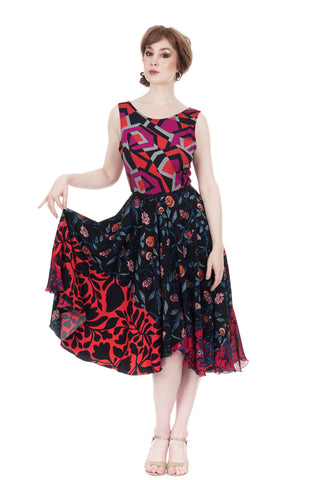 tumbling fuchsia & night vines dress