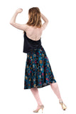 turquoise balloon sky draped & flared skirt - Poema Tango Clothes: handmade luxury clothing for Argentine tango