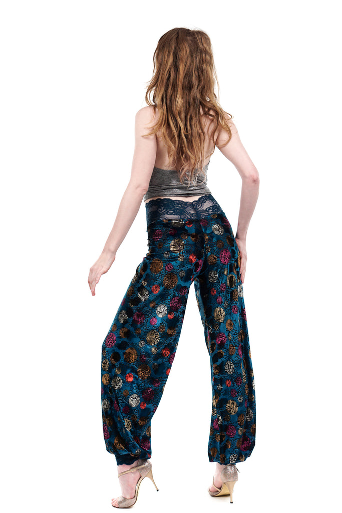turquoise balloon sky tango trousers - Poema Tango Clothes: handmade luxury clothing for Argentine tango