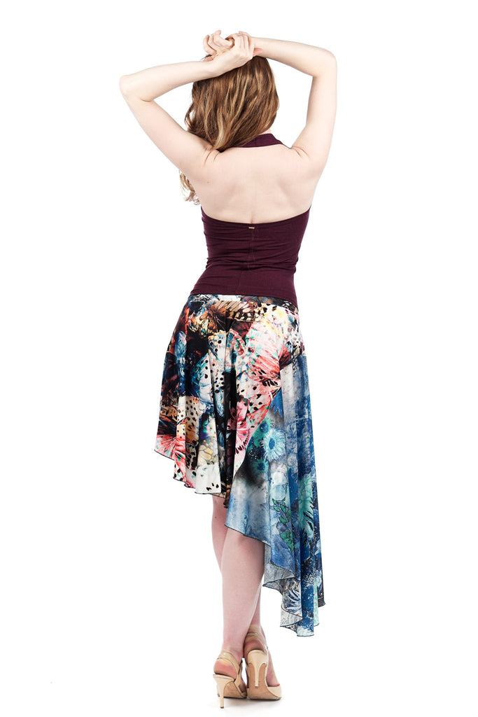 twilight butterfly asymmetric skirt - Poema Tango Clothes: handmade luxury clothing for Argentine tango