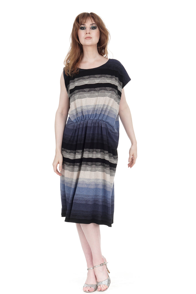 twilight ombre asymmetric dress - Poema Tango Clothes: handmade luxury clothing for Argentine tango