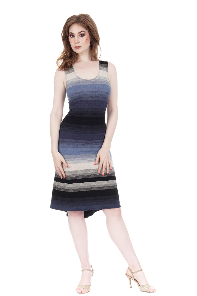 twilight ombre fluted tank dress - Poema Tango Clothes: handmade luxury clothing for Argentine tango