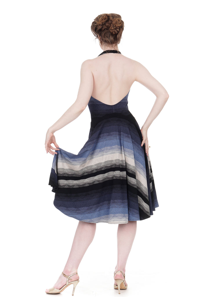 twilight ombre halter dress - Poema Tango Clothes: handmade luxury clothing for Argentine tango