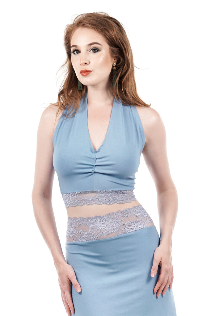 twilight sky & french lavender lace ruched halter - Poema Tango Clothes: handmade luxury clothing for Argentine tango