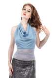 twilight sky & french lavender lace signature halter - Poema Tango Clothes: handmade luxury clothing for Argentine tango