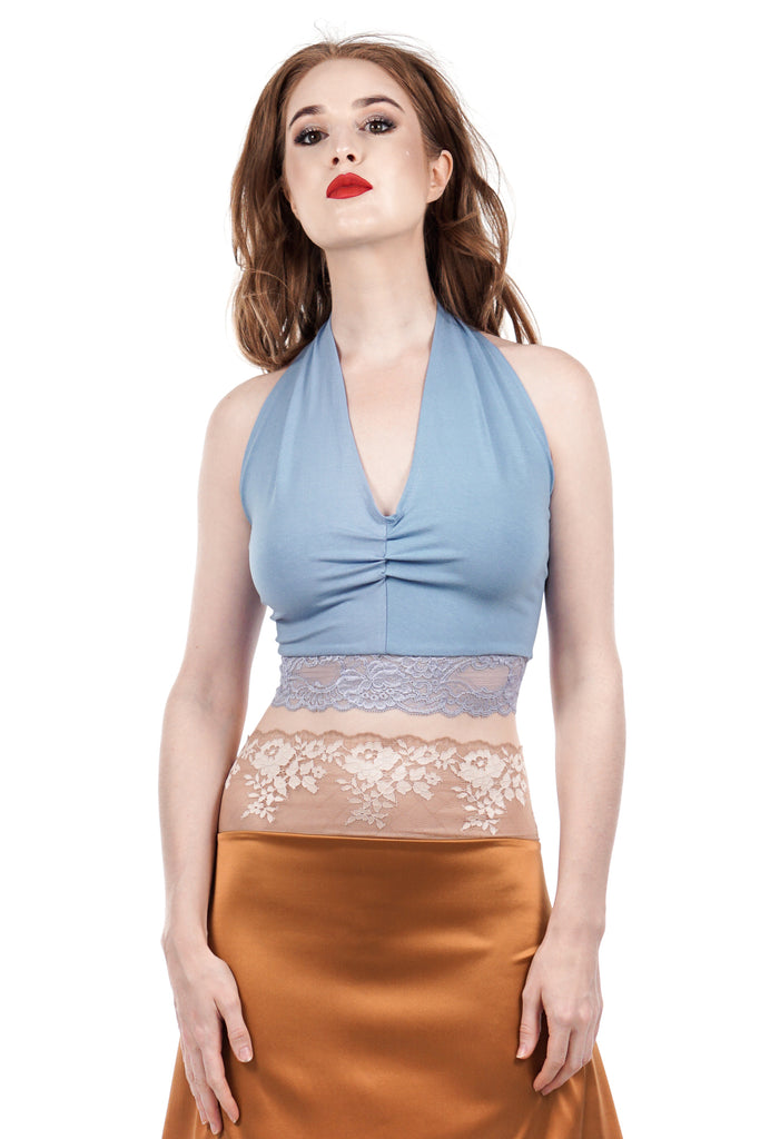 twilight sky ruched halter - Poema Tango Clothes: handmade luxury clothing for Argentine tango