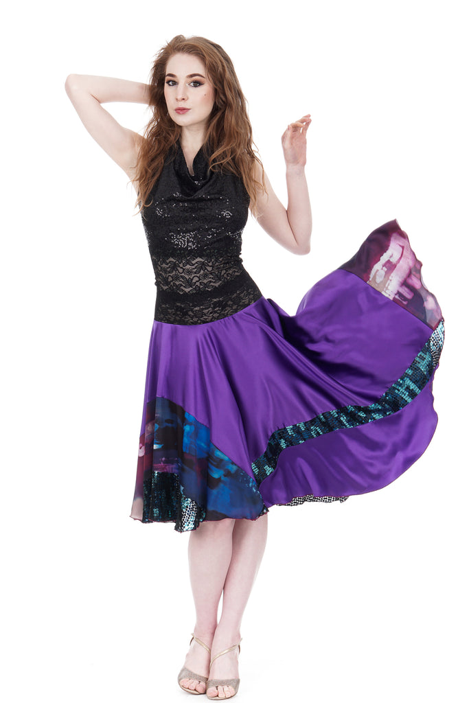ultra violet circle skirt - Poema Tango Clothes: handmade luxury clothing for Argentine tango