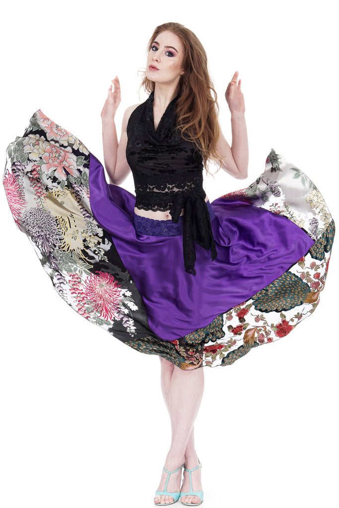 ultraviolet and peacock circle skirt - Poema Tango Clothes: handmade luxury clothing for Argentine tango