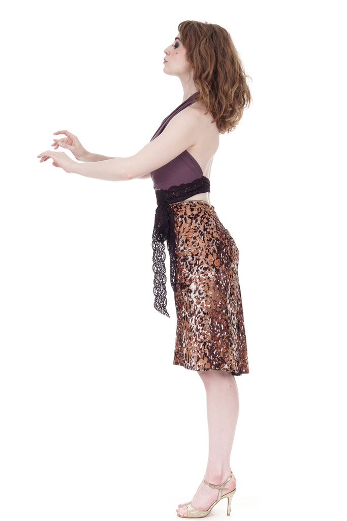 velvet cat ruched skirt - Poema Tango Clothes: handmade luxury clothing for Argentine tango