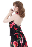 velvet rose draped halter - Poema Tango Clothes: handmade luxury clothing for Argentine tango