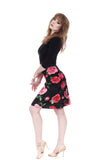 velvet roses ruched skirt - Poema Tango Clothes: handmade luxury clothing for Argentine tango