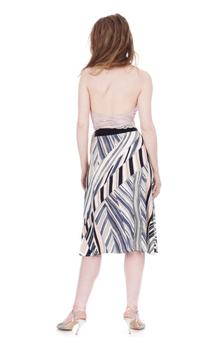wandering chevron flared skirt