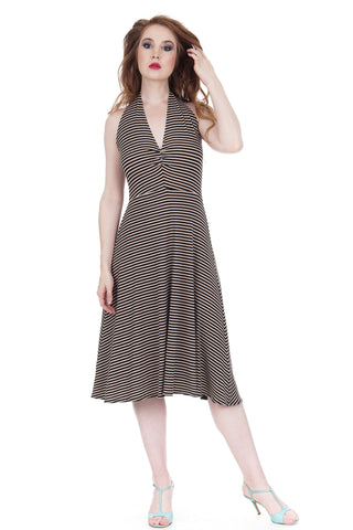 whisper stripe halter dress