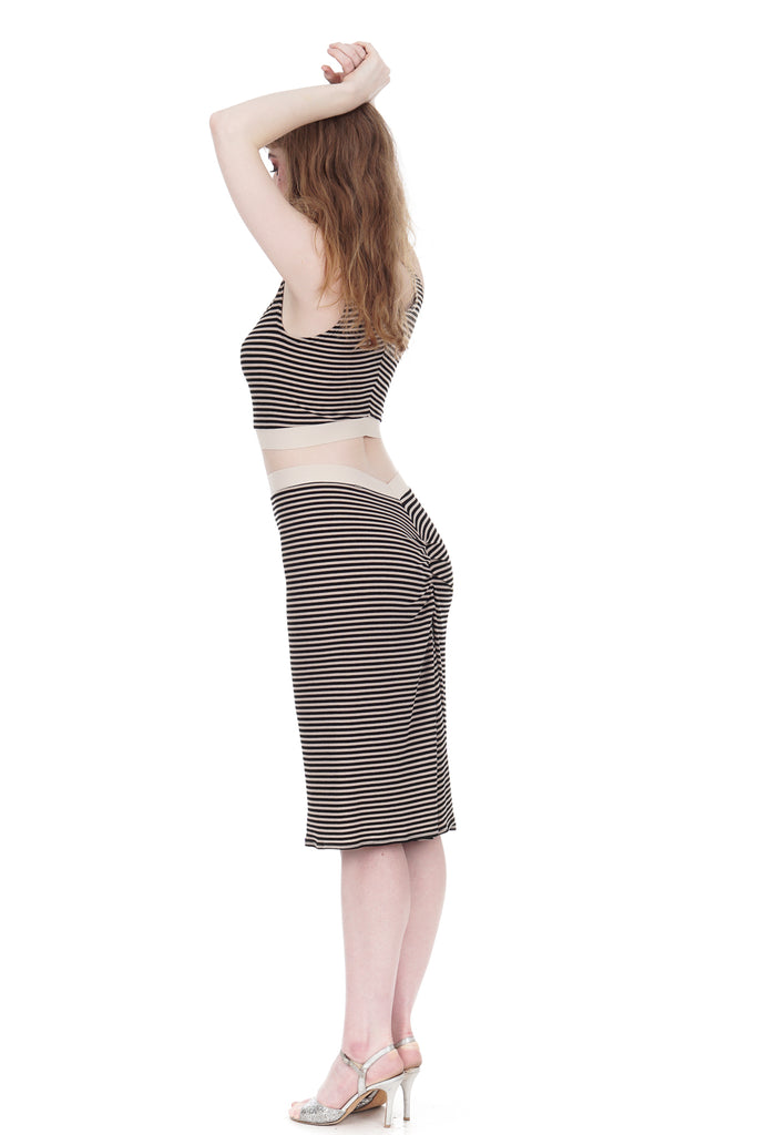 whisper stripe ruched skirt - Poema Tango Clothes: handmade luxury clothing for Argentine tango
